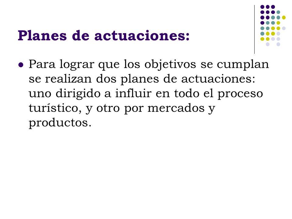 Planes de actuaciones: Para lograr que los objetivos se cumplan se realizan dos planes de actuaciones: uno dirigido a influir en todo el proceso turís