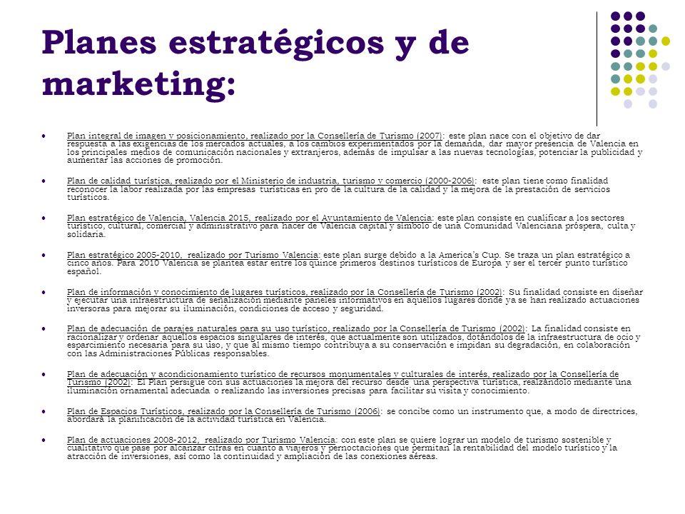 Planes estratégicos y de marketing: Plan integral de imagen y posicionamiento, realizado por la Consellería de Turismo (2007): este plan nace con el o