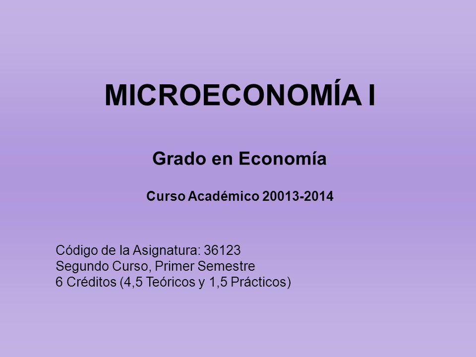 MICROECONOMÍA I Grado en Economía Curso Académico 20013-2014 Código de la Asignatura: 36123 Segundo Curso, Primer Semestre 6 Créditos (4,5 Teóricos y