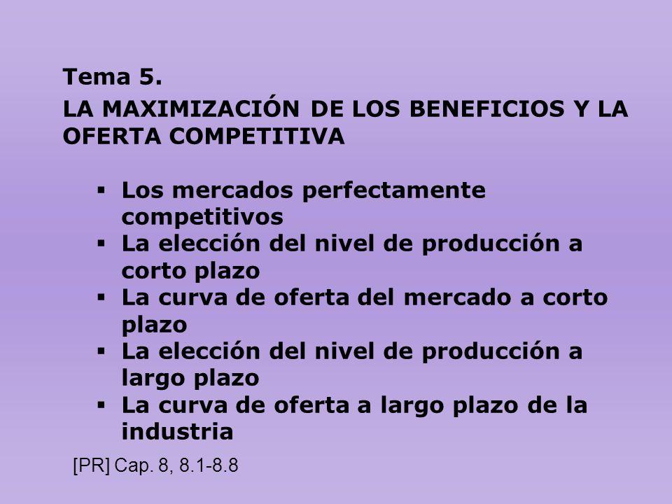 Tema 5. LA MAXIMIZACIÓN DE LOS BENEFICIOS Y LA OFERTA COMPETITIVA Los mercados perfectamente competitivos La elección del nivel de producción a corto