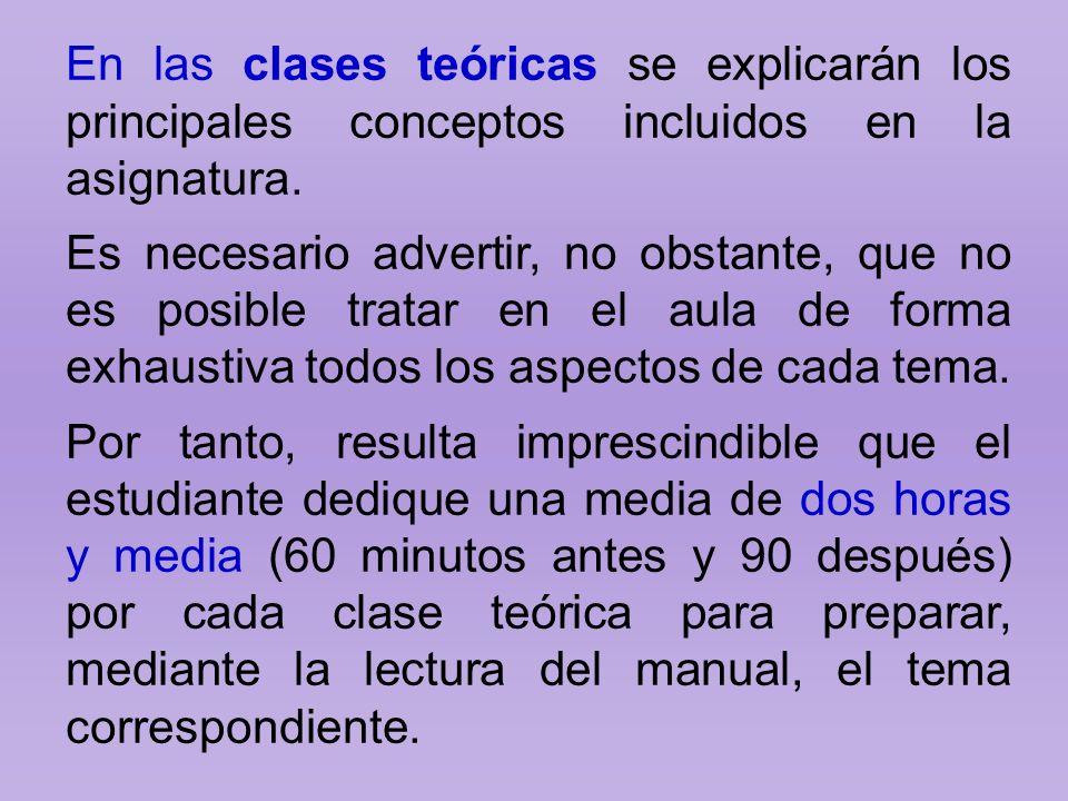 En las clases teóricas se explicarán los principales conceptos incluidos en la asignatura. Es necesario advertir, no obstante, que no es posible trata