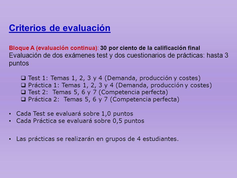 Criterios de evaluación Bloque A (evaluación continua): 30 por ciento de la calificación final Evaluación de dos exámenes test y dos cuestionarios de