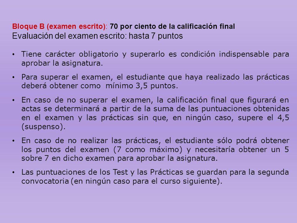 Bloque B (examen escrito): 70 por ciento de la calificación final Evaluación del examen escrito: hasta 7 puntos Tiene carácter obligatorio y superarlo