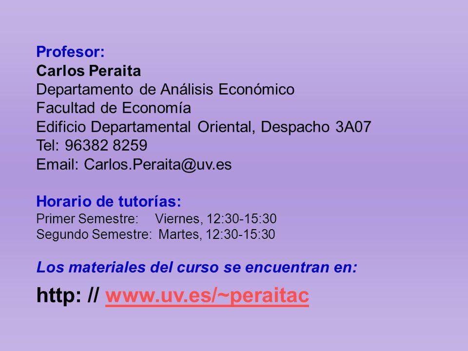 Profesor: Carlos Peraita Departamento de Análisis Económico Facultad de Economía Edificio Departamental Oriental, Despacho 3A07 Tel: 96382 8259 Email: