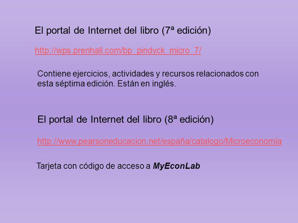 http://wps.prenhall.com/bp_pindyck_micro_7/ El portal de Internet del libro (7ª edición) Contiene ejercicios, actividades y recursos relacionados con