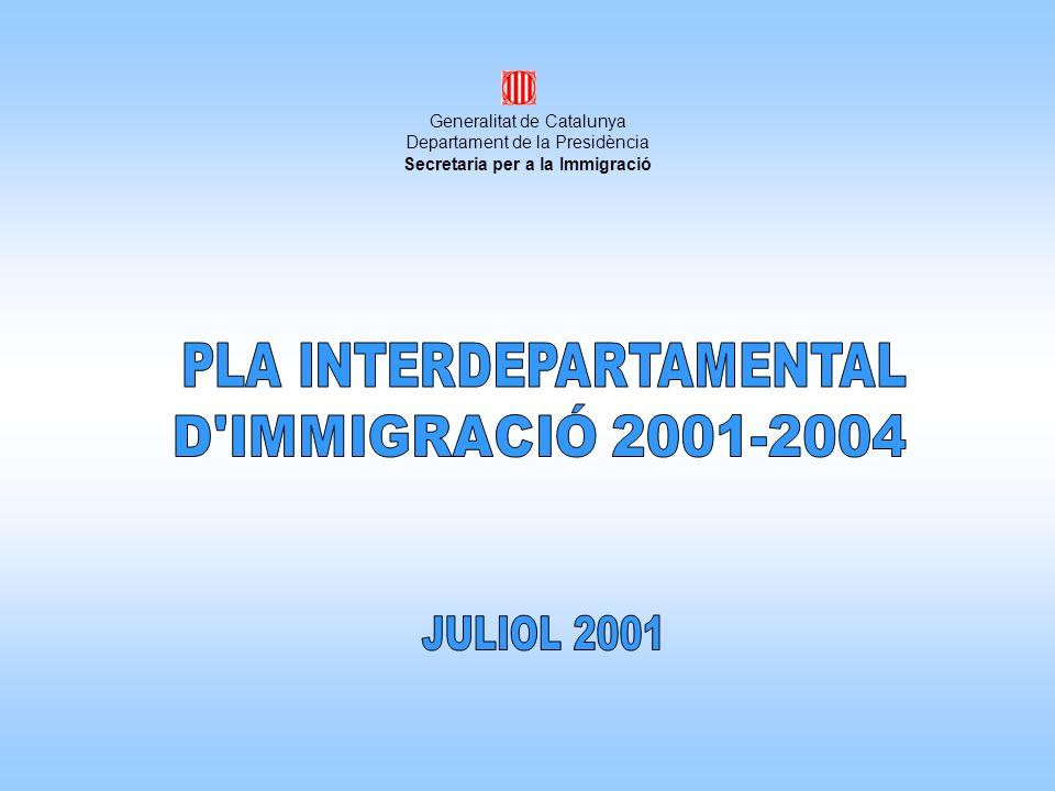 El nou Pla Interdepartamental dImmigració 2001-2004 és una eina que pretén recollir i articular el conjunt dactuacions que es promouen en làmbit competencial de la Generalitat, dacord amb la política global dintegració adoptada pel Govern.