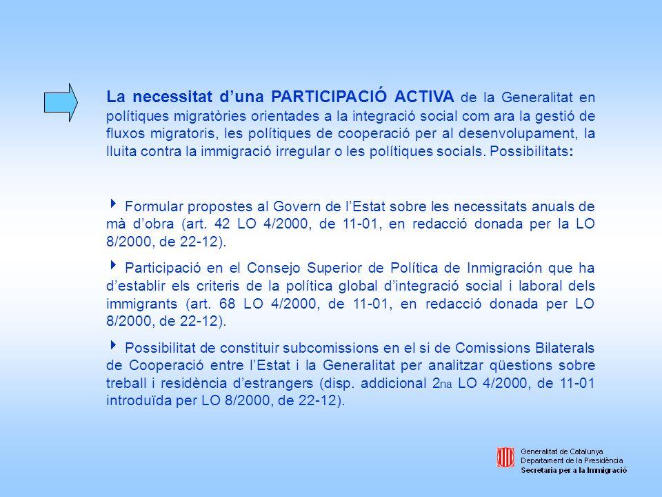La necessitat duna PARTICIPACIÓ ACTIVA de la Generalitat en polítiques migratòries orientades a la integració social com ara la gestió de fluxos migra