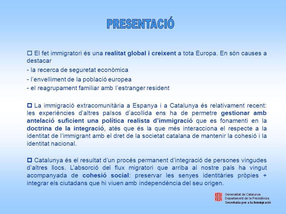 Promoure una política global dintegració dels immigrants estrangers establerts a Catalunya, en el marc general dun procés de construcció i manteniment de la cohesió social.