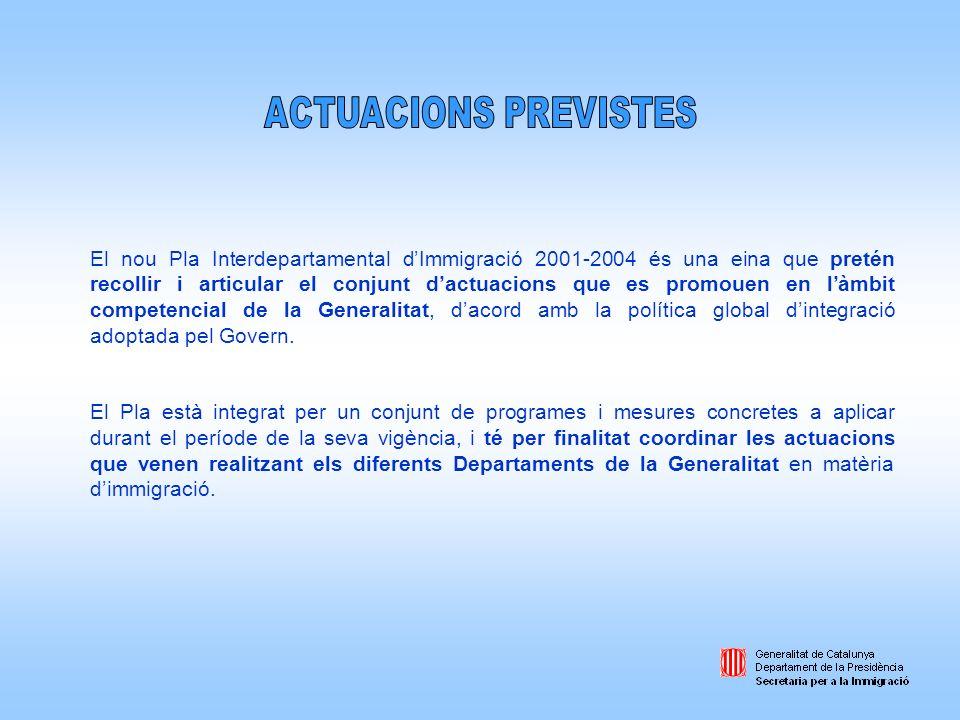 El nou Pla Interdepartamental dImmigració 2001-2004 és una eina que pretén recollir i articular el conjunt dactuacions que es promouen en làmbit compe