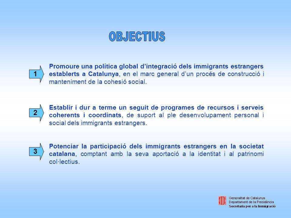 Promoure una política global dintegració dels immigrants estrangers establerts a Catalunya, en el marc general dun procés de construcció i manteniment