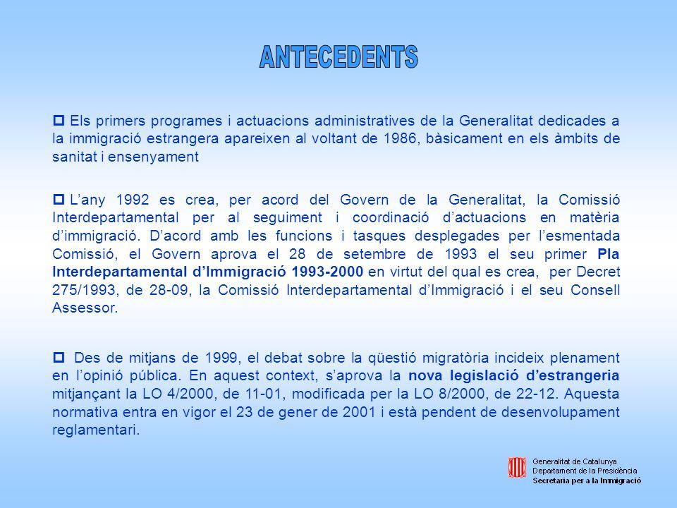 p El Parlament català aprova, en sessió plenària de 21 de febrer de 2000, la Moció 60/IV sobre política dimmigració estrangera que insta al Govern de la Generalitat a elaborar i aprovar el Pla Interdepartamental dImmigració pel període 2001-2004.