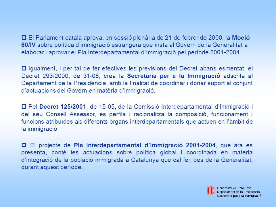Marc jurídic destrangeria Aproximació a la immigració estrangera a Catalunya: Demografia i economia partint del repartiment competencial entre lEstat / les comunitats autònomes / els ens locals, es descriuen els principals continguts del règim legal a lEstat espanyol encapçalat per la LO 4/2000, de 11-01 modificada per la LO 8/2000, de 22-12.
