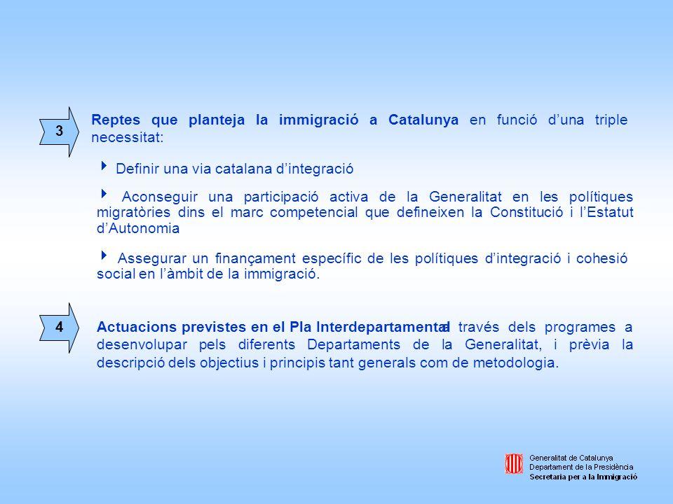 a través dels programes a desenvolupar pels diferents Departaments de la Generalitat, i prèvia la descripció dels objectius i principis tant generals