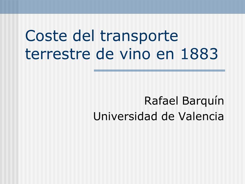 Coste del transporte terrestre de vino en 1883 Rafael Barquín Universidad de Valencia