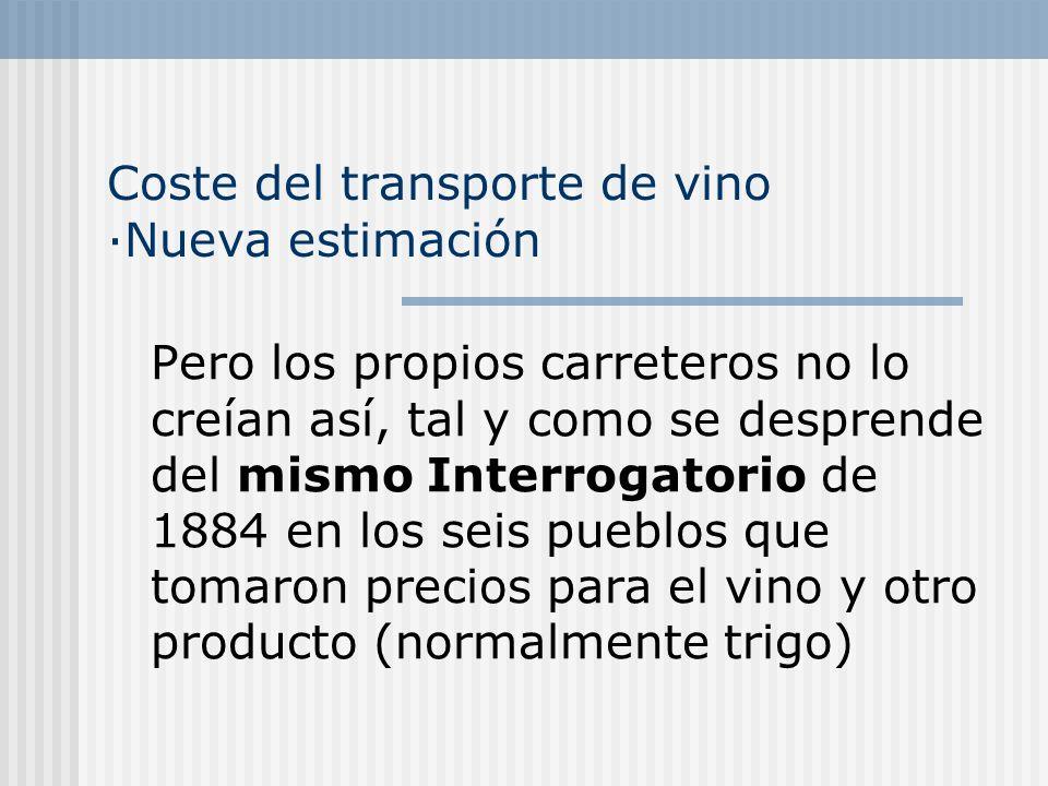 Coste del transporte de vino ·Nueva estimación Pero los propios carreteros no lo creían así, tal y como se desprende del mismo Interrogatorio de 1884 en los seis pueblos que tomaron precios para el vino y otro producto (normalmente trigo)