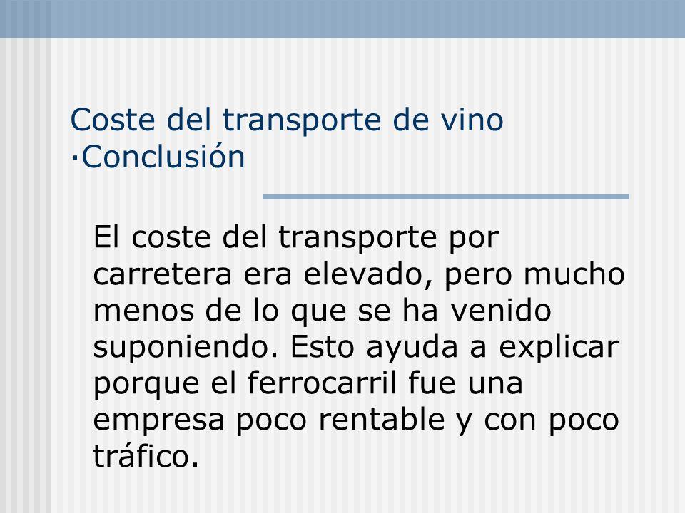 Coste del transporte de vino ·Conclusión El coste del transporte por carretera era elevado, pero mucho menos de lo que se ha venido suponiendo.