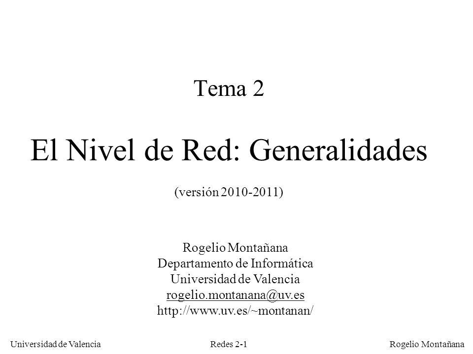 Redes 2-1 Universidad de Valencia Rogelio Montañana Tema 2 El Nivel de Red: Generalidades (versión 2010-2011) Rogelio Montañana Departamento de Inform