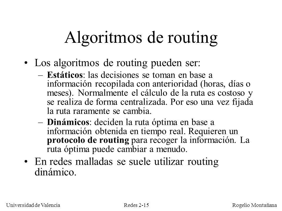 Redes 2-15 Universidad de Valencia Rogelio Montañana Algoritmos de routing Los algoritmos de routing pueden ser: –Estáticos: las decisiones se toman e