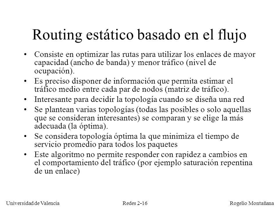 Redes 2-16 Universidad de Valencia Rogelio Montañana Routing estático basado en el flujo Consiste en optimizar las rutas para utilizar los enlaces de