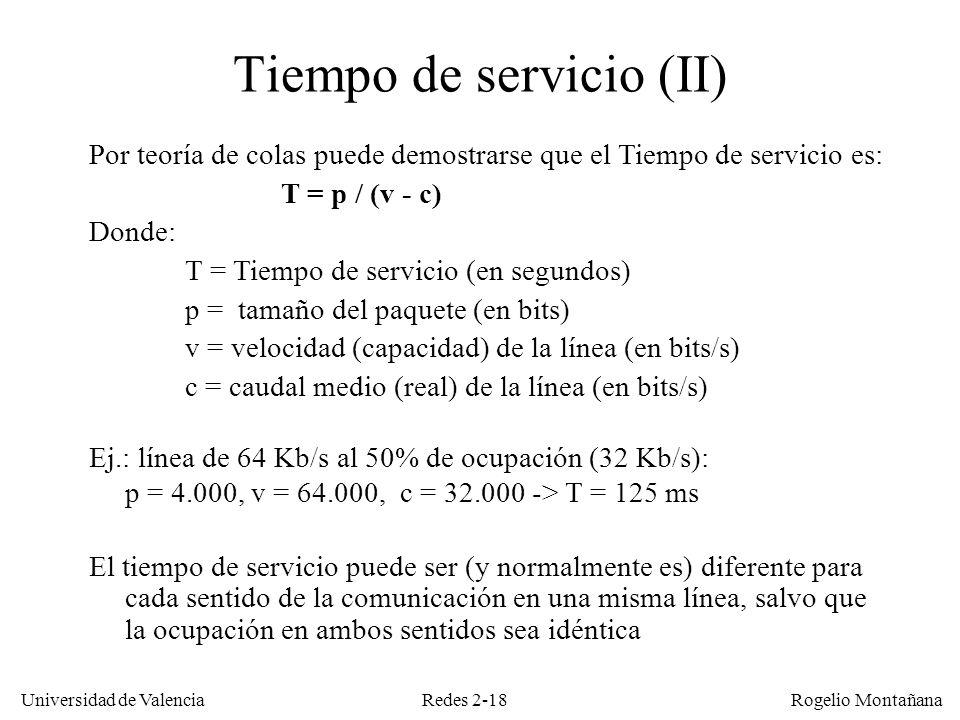 Redes 2-18 Universidad de Valencia Rogelio Montañana Por teoría de colas puede demostrarse que el Tiempo de servicio es: T = p / (v - c) Donde: T = Ti