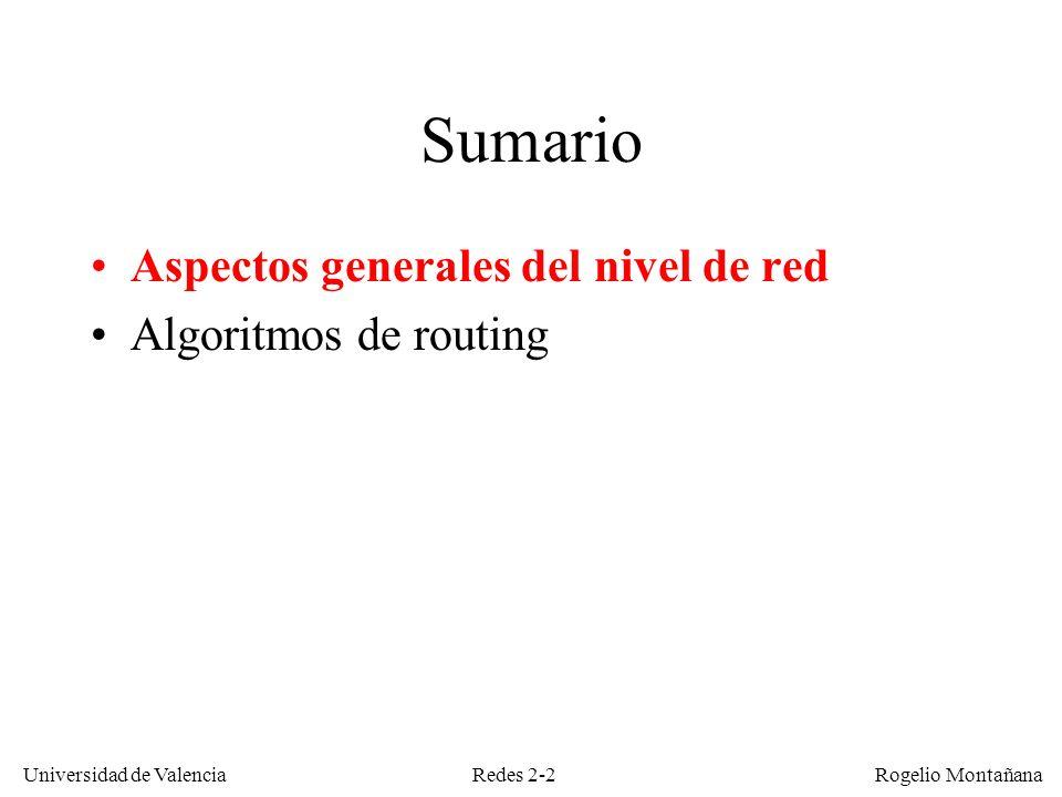 Redes 2-3 Universidad de Valencia Rogelio Montañana La Capa de Red ¿Por donde debo ir a w.x.y.z.