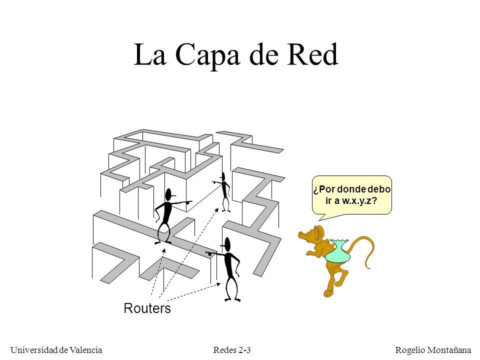 Redes 2-24 Universidad de Valencia Rogelio Montañana Encaminamiento dinámico Requiere recabar información en tiempo real sobre el estado de la red Permite responder a situaciones cambiantes, p.