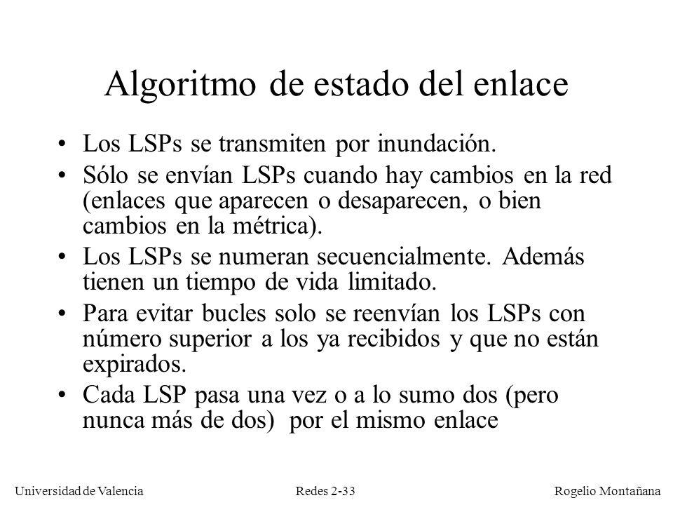 Redes 2-33 Universidad de Valencia Rogelio Montañana Algoritmo de estado del enlace Los LSPs se transmiten por inundación. Sólo se envían LSPs cuando