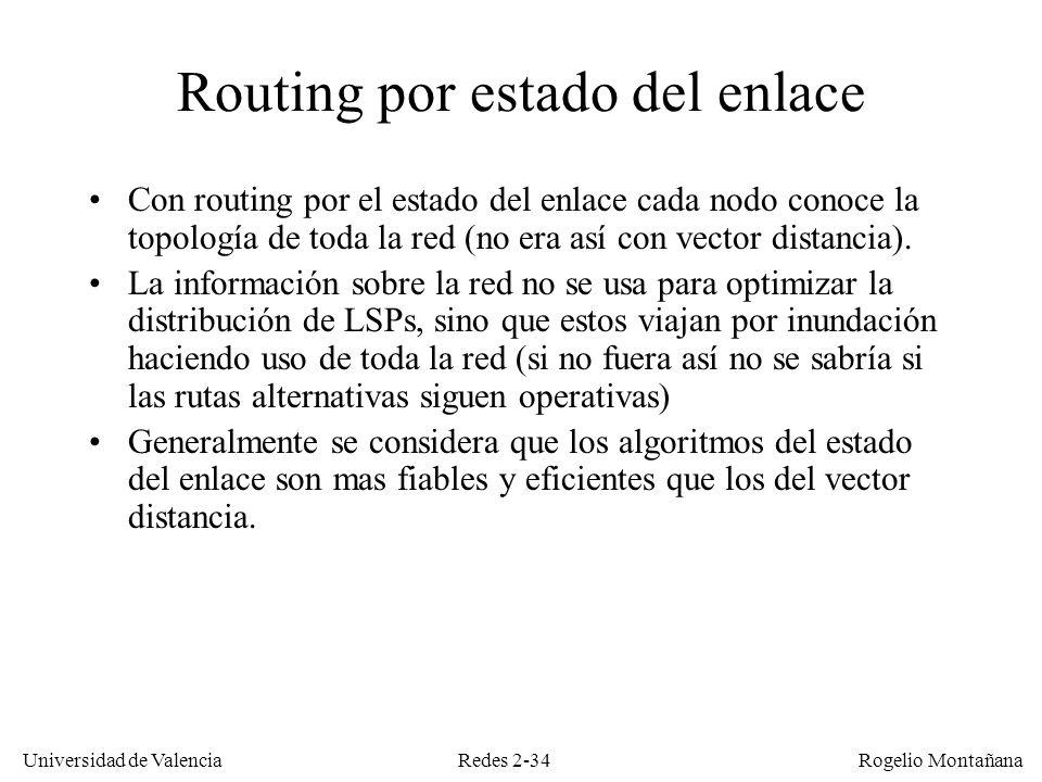 Redes 2-34 Universidad de Valencia Rogelio Montañana Routing por estado del enlace Con routing por el estado del enlace cada nodo conoce la topología