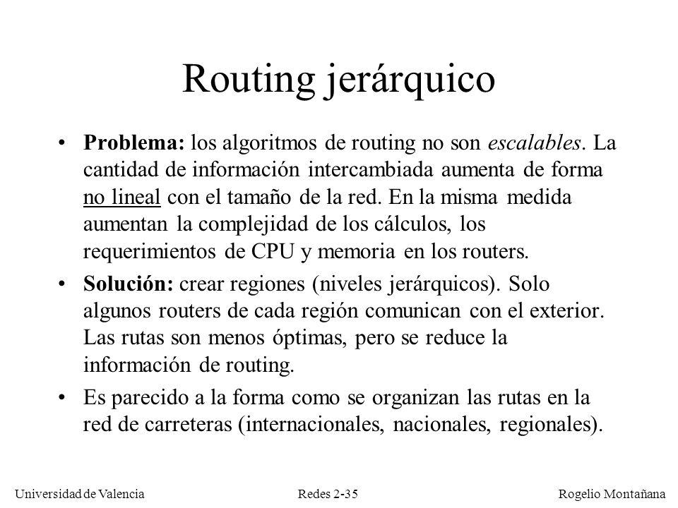 Redes 2-35 Universidad de Valencia Rogelio Montañana Routing jerárquico Problema: los algoritmos de routing no son escalables. La cantidad de informac