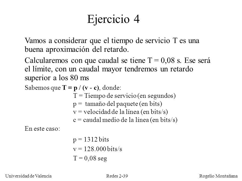 Redes 2-39 Universidad de Valencia Rogelio Montañana Vamos a considerar que el tiempo de servicio T es una buena aproximación del retardo. Calcularemo