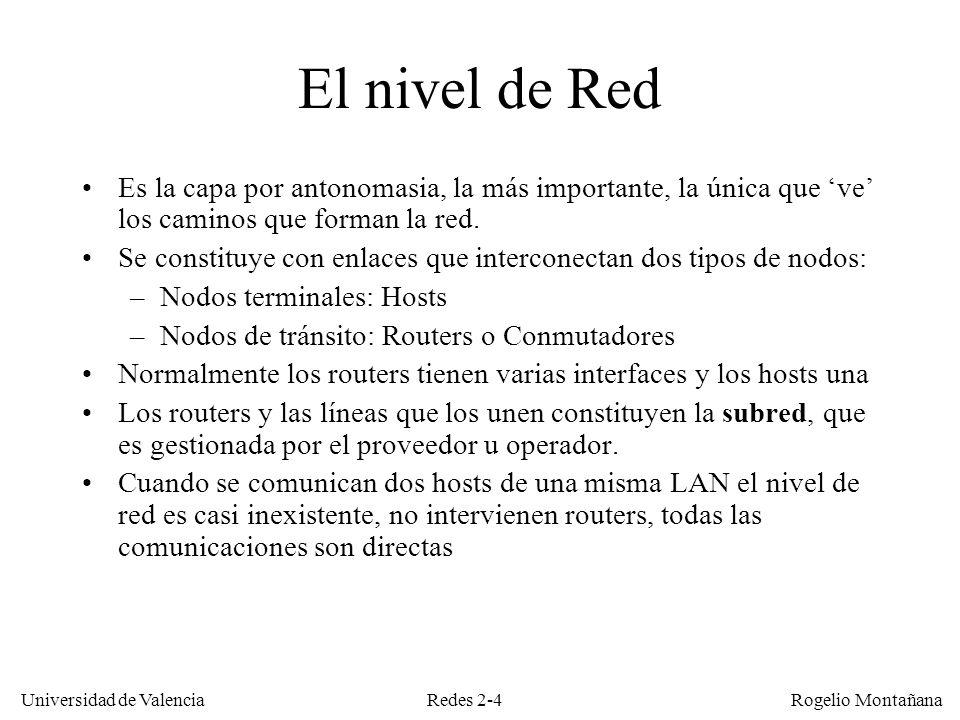 Redes 2-5 Universidad de Valencia Rogelio Montañana Puente (nivel 2) vs router (nivel 3) Física MAC Red Física MAC Red Física MAC Física MAC Transp.