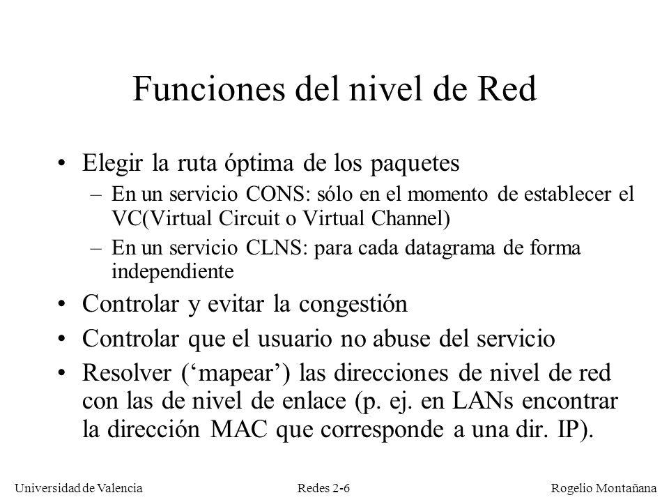 Redes 2-7 Universidad de Valencia Rogelio Montañana 1.11.31.2 2.12.32.2 1.1 1.3 1.2 2.1 2.3 2.2 B.1B.3B.2 C.1C.3C.2 B.1 B.3 B.2 C.3 C.2 C.1 Red CONS Red CLNS VC 1 VC 2 A A B B C C Cada paquete lleva el número del circuito virtual al que pertenece Cada datagrama lleva la dirección de destino El orden se respeta siempre El orden no siempre se respeta Todos los paquete que van por un mismo VC usan la misma ruta La ruta se elige de forma independiente para cada datagrama Servicio CONS vs CLNS