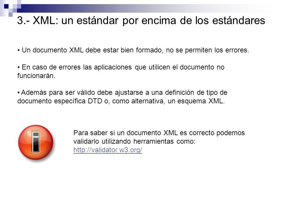 Un documento XML debe estar bien formado, no se permiten los errores. En caso de errores las aplicaciones que utilicen el documento no funcionarán. Ad