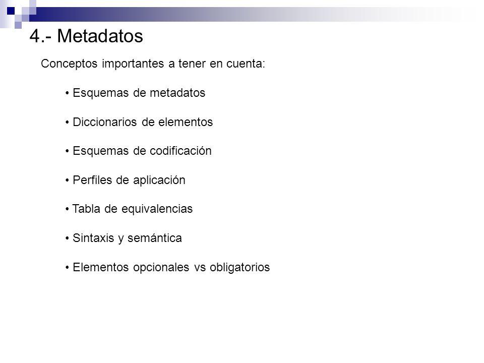 4.- Metadatos Conceptos importantes a tener en cuenta: Esquemas de metadatos Diccionarios de elementos Esquemas de codificación Perfiles de aplicación
