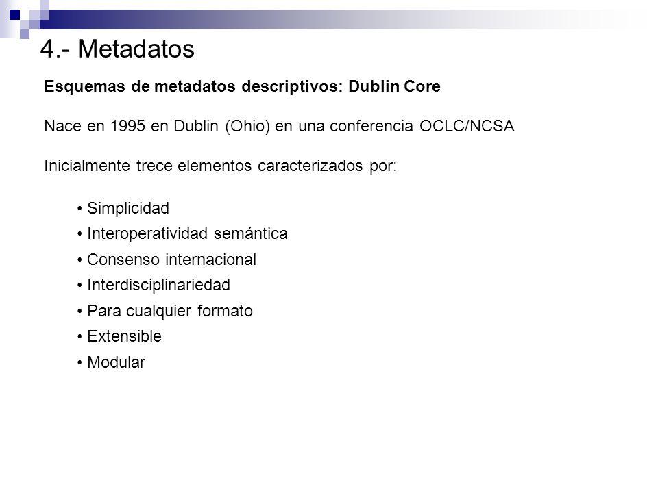 4.- Metadatos Esquemas de metadatos descriptivos: Dublin Core Nace en 1995 en Dublin (Ohio) en una conferencia OCLC/NCSA Inicialmente trece elementos
