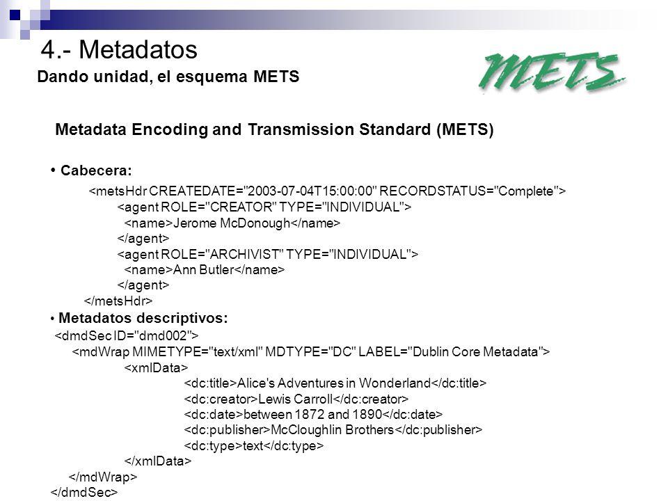 4.- Metadatos Dando unidad, el esquema METS Metadata Encoding and Transmission Standard (METS) Cabecera: Jerome McDonough Ann Butler Metadatos descrip
