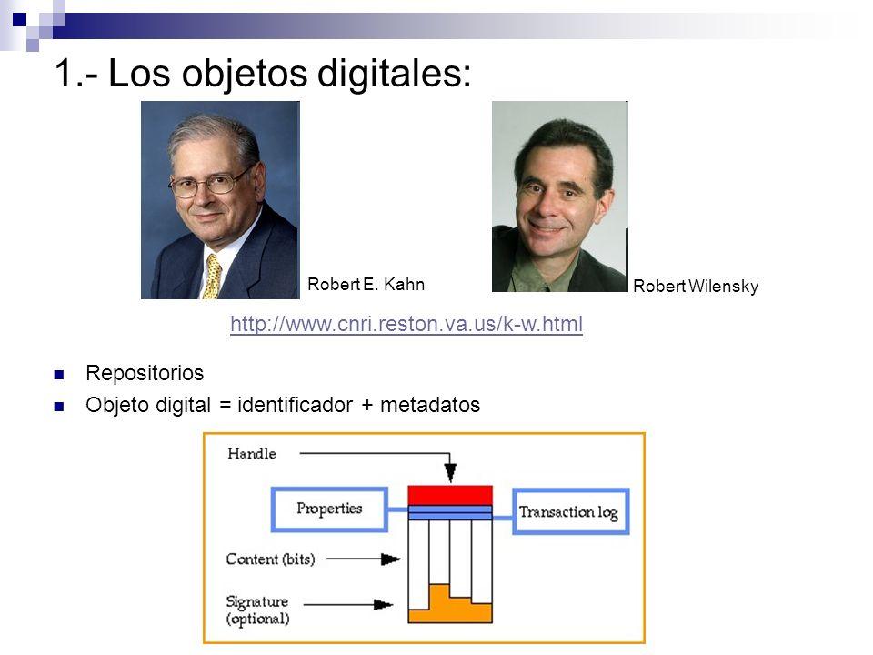 Repositorios Objeto digital = identificador + metadatos 1.- Los objetos digitales: Robert Wilensky Robert E. Kahn http://www.cnri.reston.va.us/k-w.htm