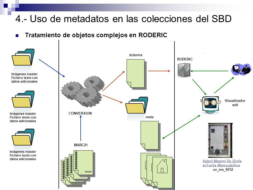 4.- Uso de metadatos en las colecciones del SBD Tratamiento de objetos complejos en RODERIC Imágenes master Fichero texto con datos adicionales Imágen