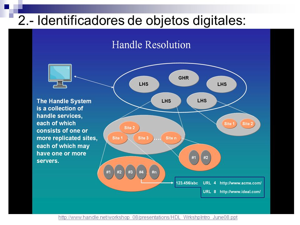 2.- Identificadores de objetos digitales: DOI (Digital Object Identifier): Implementación del sistema handle con funciones adicionales específicas de la industria editorial Gestionado por la International DOI Foundation y Agencias de Registro.