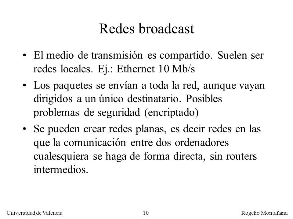 Universidad de Valencia Rogelio Montañana 10 Redes broadcast El medio de transmisión es compartido. Suelen ser redes locales. Ej.: Ethernet 10 Mb/s Lo
