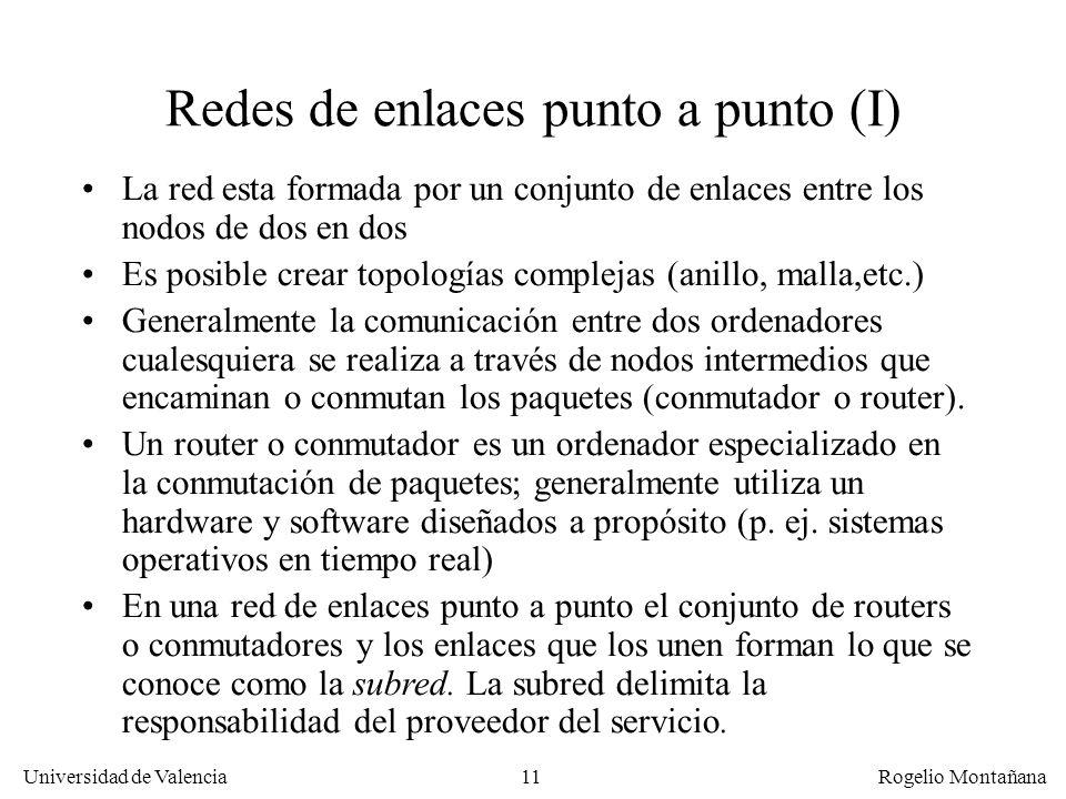 Universidad de Valencia Rogelio Montañana 11 Redes de enlaces punto a punto (I) La red esta formada por un conjunto de enlaces entre los nodos de dos
