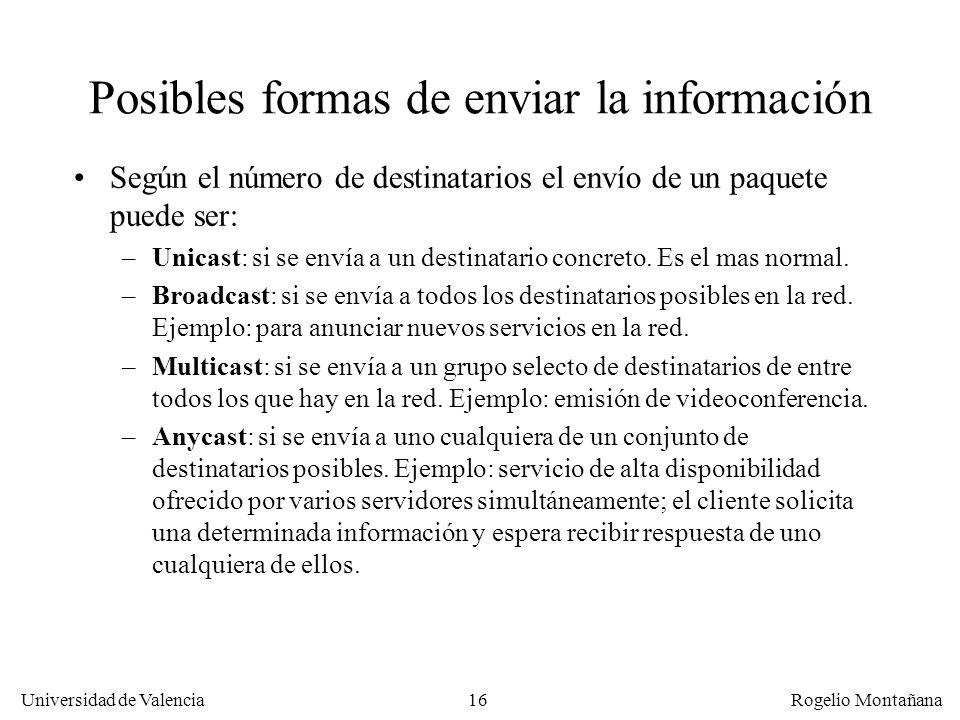 Universidad de Valencia Rogelio Montañana 16 Posibles formas de enviar la información Según el número de destinatarios el envío de un paquete puede se