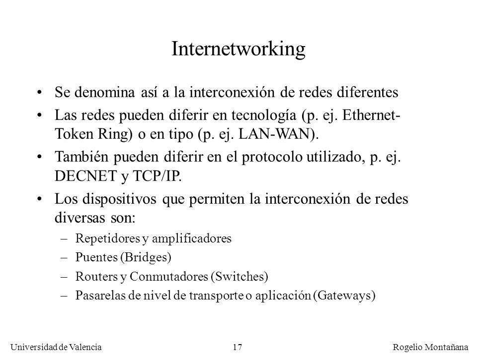 Universidad de Valencia Rogelio Montañana 17 Internetworking Se denomina así a la interconexión de redes diferentes Las redes pueden diferir en tecnol