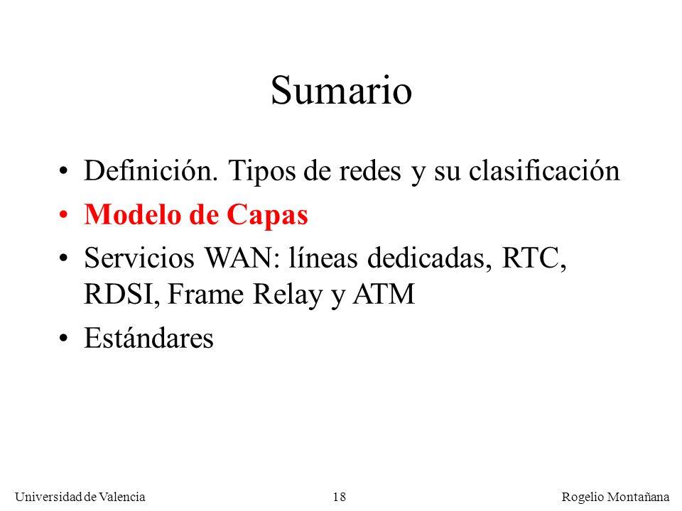 Universidad de Valencia Rogelio Montañana 18 Sumario Definición. Tipos de redes y su clasificación Modelo de Capas Servicios WAN: líneas dedicadas, RT