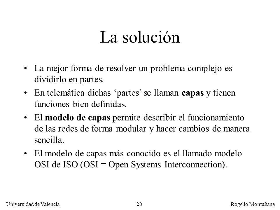 Universidad de Valencia Rogelio Montañana 20 La solución La mejor forma de resolver un problema complejo es dividirlo en partes. En telemática dichas
