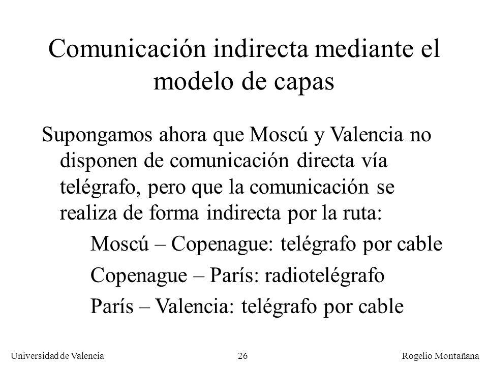 Universidad de Valencia Rogelio Montañana 26 Comunicación indirecta mediante el modelo de capas Supongamos ahora que Moscú y Valencia no disponen de c