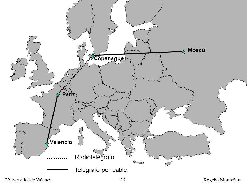 Universidad de Valencia Rogelio Montañana 27 Telégrafo por cable Radiotelégrafo Valencia París Copenague Moscú