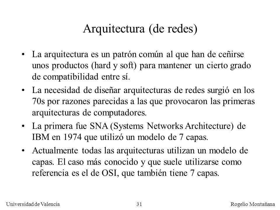 Universidad de Valencia Rogelio Montañana 31 Arquitectura (de redes) La arquitectura es un patrón común al que han de ceñirse unos productos (hard y s