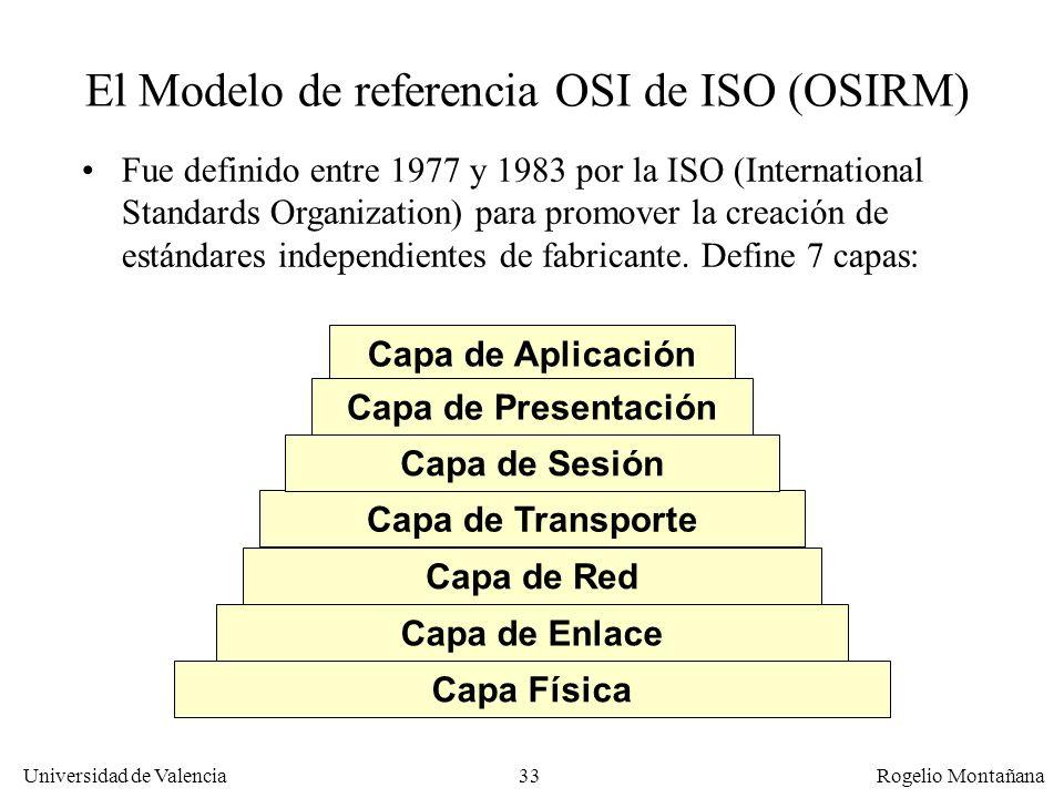 Universidad de Valencia Rogelio Montañana 33 El Modelo de referencia OSI de ISO (OSIRM) Fue definido entre 1977 y 1983 por la ISO (International Stand