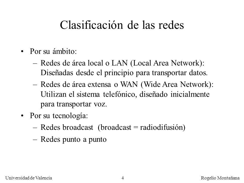 Universidad de Valencia Rogelio Montañana 4 Clasificación de las redes Por su ámbito: –Redes de área local o LAN (Local Area Network): Diseñadas desde